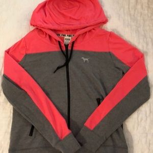 VS PINK Zip up jacket hoodie bright pink & gray M